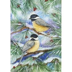 Snowy Birds Garden Flag