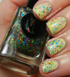 Cirque Electric Circus over Milani Almond Bliss Electric Circus is made up of non-reflective neon hexes in Blue, Green and Pink.