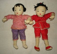 "Pair Vintage Asian / Chinese Handmade Cloth Dolls Ada Lum 10"" Tall 
