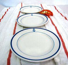 Set of 5 Vintage US Navy Dishes Naval Insignia by AustinModern, 75.00