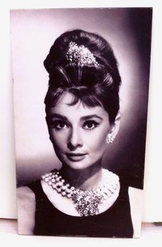 Beautiful AUDREY HEPBURN Poster Photo Print CANVAS 27.5 X 15.5 Inch wood frame.