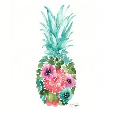 Watercolor Floral Pineapple, original painting, 11x14, blue, pink,... ❤ liked on Polyvore featuring home, home decor, wall art, pineapple painting, floral paintings, fruit wall art, blue floral wall art and blue painting