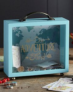 Saving for an Adventure Money Box Diy Shadow Box, Shadow Box Frames, Diy Box, Diy Money Box Ideas, Money Saving Box, Savings Box, Wood Projects That Sell, Doll House Plans, Party Shop
