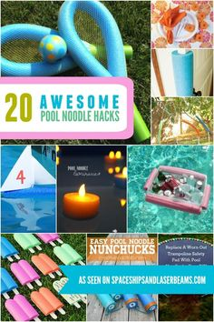 Have you picked up your pool noodles yet? Grab 'em while you can and get busy with these amazing pool noodle hacks. Mason Jar Diy, Mason Jar Crafts, Trampoline Safety, Large Flower Pots, Diy Wall Shelves, Pool Noodles, Glow Sticks, Cool Pools, Diy Projects To Try