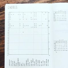 minimalist bullet journal spread | household chore tracker | table with x's | bujo inspiration
