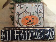Primitive Country Pumpkin All Hallow's Eve Halloween Shelf Sitter Wood Block Set #PrimtiveCountry