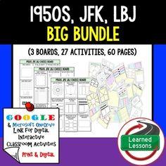 1950's JFK New Frontier & LBJ Great Society Choice Boards US History Google
