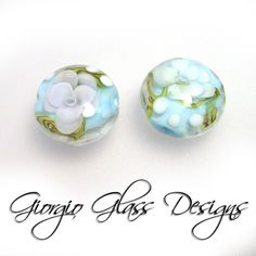 Dainty Encased Flowers in Lt. blue and white by flamekissedglass, $10.00