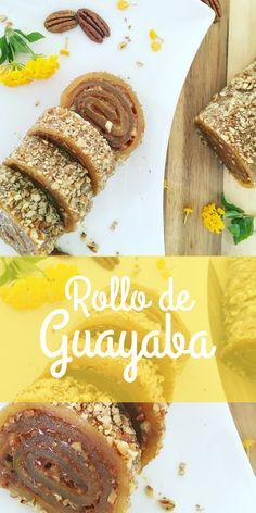 Delicioso rollo de dulce de guayaba casero, relleno de dulce de leche y trocitos de nuez, cubierto completamente por más trocitos de nuez.