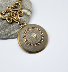 Vintage Button Pendant Necklace, Topaz Rhinestone Button Necklace, Antique Brass Button Necklace, Brown Button, Upcycled Button Jewelry