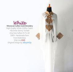 Moroccan White Chiffon Caftan Gold Embroidery Dubai by aboyshop, $55.55