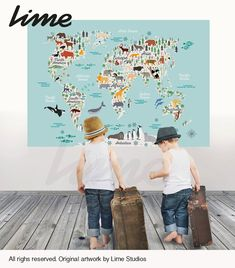 Animals World Map Wall Decal  Peel and Stick by LimeWallDecor