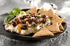 This one is so pretty and oh so good. Citrus-Ricotta Spread with Figs, Honey & Basil. Serve with TRISCUIT Thin Crisps.