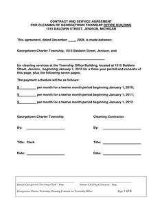 Cleaning Contract Agreement | Contract For Services Agreement Sample Janitorial Contract Legal