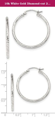 10k White Gold Diamond-cut 2mm Round Tube Hoop Earrings. Product Description Material: Primary - Purity:10K Finish:Polished Length of Item:31.63 mm Material: Primary:Gold Thickness:2 mm Width of Item:29.83 mm Product Type:Jewelry Jewelry Type:Earrings Sold By Unit:Pair Texture:Diamond-cut Material: Primary - Color:White Earring Closure:Hinged Earring Type:Hoop.
