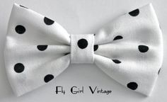 1950's-Vintage-Style-Hair-Clip-Fabric-Hair-Bow-White-and-Black-Polka Dots- For Women-teens-girls-kids-Rockabilly-Pin-Up-Punk