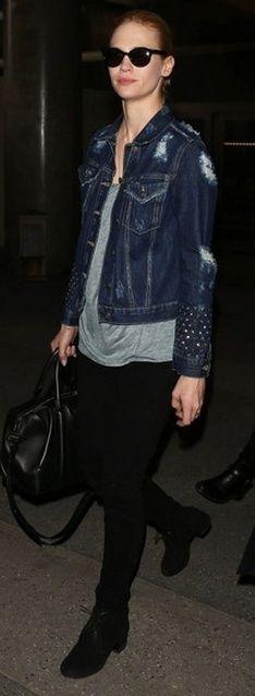 Who made January Jones' denim jacket and black leather handbag that she wore on March 7, 2013? Purse – Givenchy  Jacket – Sandro