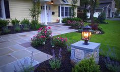 front+walkway+ideas | Modern front yard landscaping walkway ideas with lighting