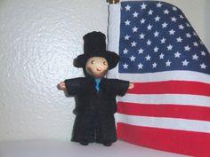 Abraham Lincoln Doll, Bendy Doll, 16th President, Dollhouse Pocket, Miniature Poseable, Figurine Teacher Desk