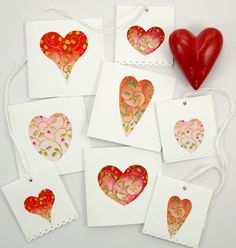 Valentine love note gift tag heart set wedding by atticEditions