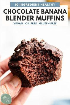 Healthy Chocolate Muffins, Healthy Breakfast Muffins, Vegan Muffins, Chocolate Banana Bread, Chocolate Oatmeal, Gluten Free Muffins, Flourless Chocolate, Vegan Chocolate, Chocolate Recipes