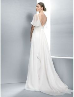 Wedding Dresses Pictures - A-Line V-Neck Natural Waist Cap Sleeve Non-Strapless Spaghetti Strap Satin Organza Wedding Dress - Style Wedding Gowns With Sleeves, Wedding Dress Chiffon, Wedding Dress Styles, Wedding Attire, Bridal Dresses, One Shoulder Wedding Dress, Bridesmaid Dresses, Dresses With Sleeves, Cap Sleeves