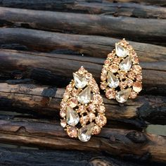 """Anthropologie Pink and Clear Crystal Earrings Stunning light pink and clear crystal vintage inspired earrings from Anthropologie. Worn once, excellent condition. Eye catching and elegant! Measures approx. 1"""" wide and 1.5"""" long. Not in original box. Anthropologie Jewelry Earrings"""