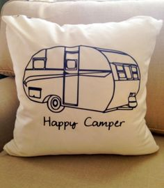 """""""happy camper"""" trailer throw pillow on etsy.com"""