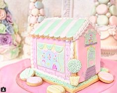 gingerbread house Cookie Cottage, Cookie House, Christmas Gingerbread House, Gingerbread Houses, House Roof, Inspiration Boards, Pastels, Cottages, Cake