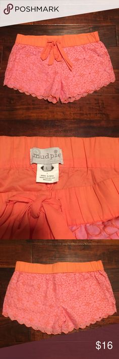 "Mudpie Lace Shorts Pajama PJ Lounge Pink Orange Casual lounge shirts with elastic waist and drawstring. Excellent condition. 17"" across waist. 11"" long. 3.5"" inseam. 100% cotton. Pink and orange embroidered flowers with orange lining. Feel free to bundle and make an offer! Mudpie Shorts"