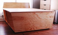 Natural Plywood Materials Swank Bed Frame With Storage As Well As Simplistic Models With Wooden Flooring Installation For Smart Furnitures Bedroom And Cool Wooden Drawers Cabinet At Corner In Traditional Boys Bedroom Decor Inspiring Ideas