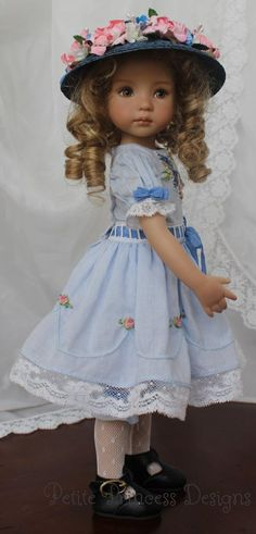 """""""Antique Rose"""", and OOAK Embroidered Heirloom Ensemble by petiteprincessdesigns on ebay. This is a set made from light blue cotton batiste. The little puff sleeves are detailed with rows of tiny pintucks, edged with Swiss entredeux and delicate French cotton lace that matches the lace at the hem of the skirt. Notice that the skirt is embellished with scalloped pintucks. So pretty!"""