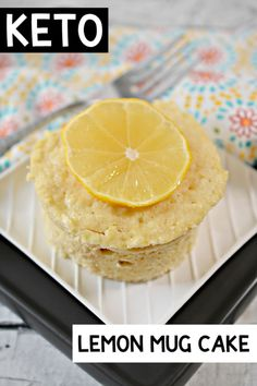 This Keto Lemon Mug Cake is the perfect low carb dessert for one. Microwave mug cakes are quick to make and delicious! Lemon Dessert Recipes, Keto Dessert Easy, Delicious Cake Recipes, Homemade Desserts, Easy Cake Recipes, Homemade Cakes, Yummy Cakes, Sweet Recipes, Keto Recipes