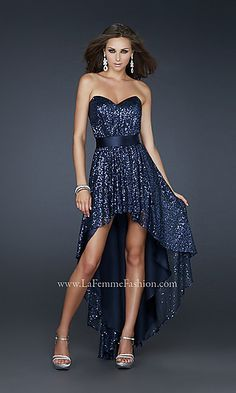 Strapless sweetheart sequin high-low formal dress by La Femme.