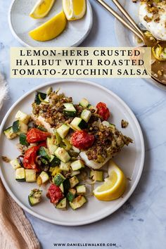 This paleo and gluten free Lemon-Herb Crusted Halibut is a mouthwatering sheet pan meal that's light, healthy, and easy to make! Give this recipe a try for dinner tonight. Zucchini Salsa, Lemon Herb, Halibut, Roasted Tomatoes, Grain Free, Dairy Free, Gluten Free, Herbs, Sheet Pan