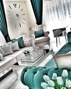 35 Modern And Luxury Living Rooms Design Ideas - Noor . - - 35 Modern And Luxury Living Rooms Design Ideas - Noor . Teal Living Rooms, Living Room Decor Cozy, Home Living Room, Luxury Living Rooms, Cozy Bedroom, Silver Living Room, Bedroom Ideas, Living Spaces, Living Room Turquoise