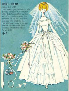 """""""Barbie's Dream Wedding"""" with Kenmy dad was a wedding photographer, and he took me along to weddings and to the studio while he developed the film - my goal in early life was to be a bride when I grew up because the dresses, 1960's -"""