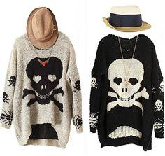 oversized skull pullover sweater