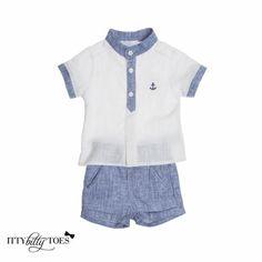 Denim & White Shorts Set