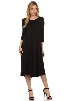 Black 3/4 Sleeve Dress - My Sisters Closet
