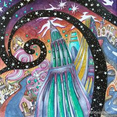 From Magical City colouring book by Lizzie Mary Cullen. Done with Derwent Inktense. New contribution to hosted by and by . Edition Woodland Trust and FSD certified. Naive, Derwent Inktense, Johanna Basford Secret Garden, Fantasy Castle, Magic City, Color Pencil Art, Magical Christmas, Coloring Book Pages, Christmas Colors