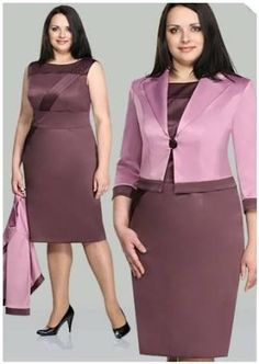 Women's contemporary 2 pic dress & midi jacket two tone purple African Fashion Dresses, African Attire, African Dress, Plus Size Dresses, Cute Dresses, Dresses For Work, Dress Suits, I Dress, Modelos Plus Size