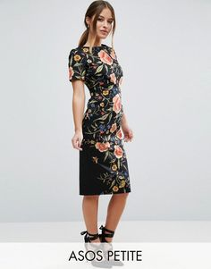 Buy it now. ASOS PETITE Wiggle Dress in Floral Embroidery Print - Multi. Petite dress by ASOS PETITE, Breathable woven fabric, Contains stretch for comfort, Round neck, All-over floral print, Short sleeves, Kick split, Slim fit - cut close to the body, Machine wash, 96% Cotton, 4% Elastane, Our model wears a UK 8/EU 36/US 4 and is 163cm/5'4 tall. ABOUT ASOS PETITE 5�3�/1.60m and under? The London-based design team behind ASOS PETITE take all your fashion faves and cut them down to size. S...