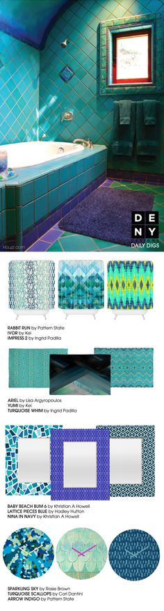 Escape to a vibrant Moroccan bath with these geometric pieces in beautiful shades of turquoise and blues! #bathroom #showercurtain #clock #mirror
