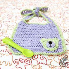 Baby Bib with Teddy Bear Motif - Crochet Pattern