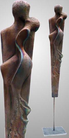 Edeltrude Arleitner, ceramic unique (raku, copper matt), h/total = ca. 130 cm (ca. 65 without iron stand) Pottery Sculpture, Sculpture Clay, Abstract Sculpture, Sculpture Garden, Sculpture Ideas, Contemporary Sculpture, Contemporary Art, Metal Art, Wood Art