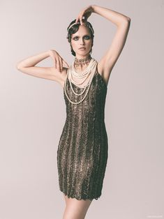Headpiece and Choker Erickson Beamon, Pearl Necklace RJ Graziano and dress THEIA