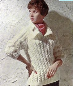 Lady's Chunky Knit Sweater A4 PDF Reformatted by NostalgiaPatterns
