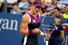 Sam Stosur (AUS) lets out a yell during a Women's Singles Semifinals match against Angelique Kerber (GER).  September 2011.  #tennis