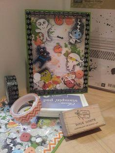 Halloween Shaker Card Stampin Up! Gorgeous Grunge Washi tape   Non Su stickers